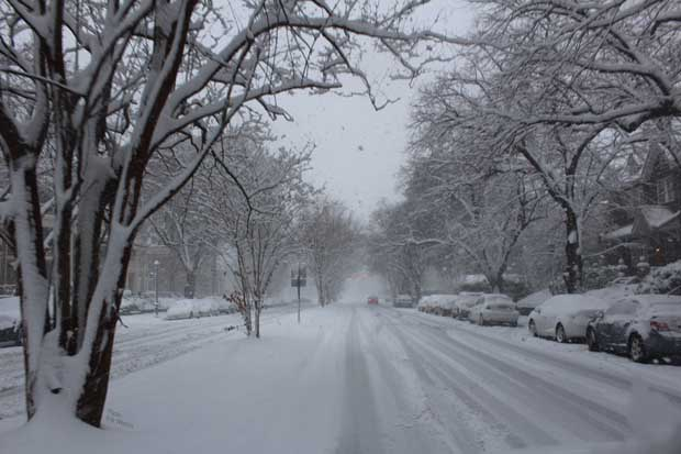 Boulevard snowed down in Richmond Virginia