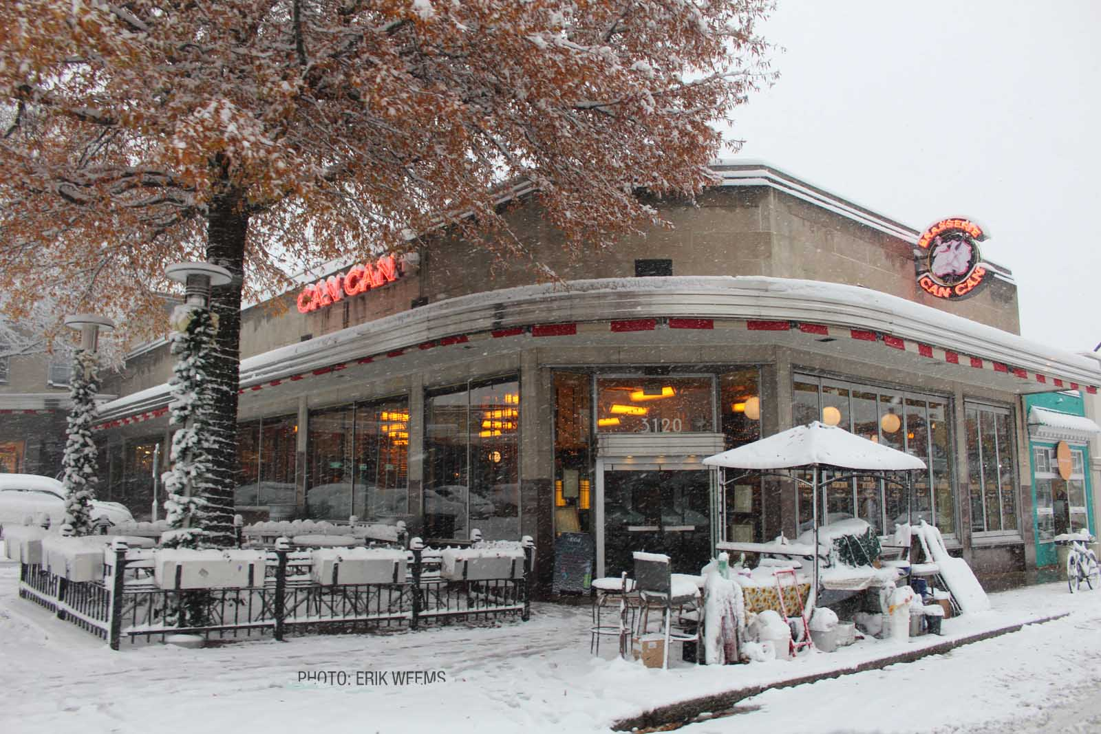 Enlarged winter photo - The Can Can Restarant in the Snow - Richmond Virginia