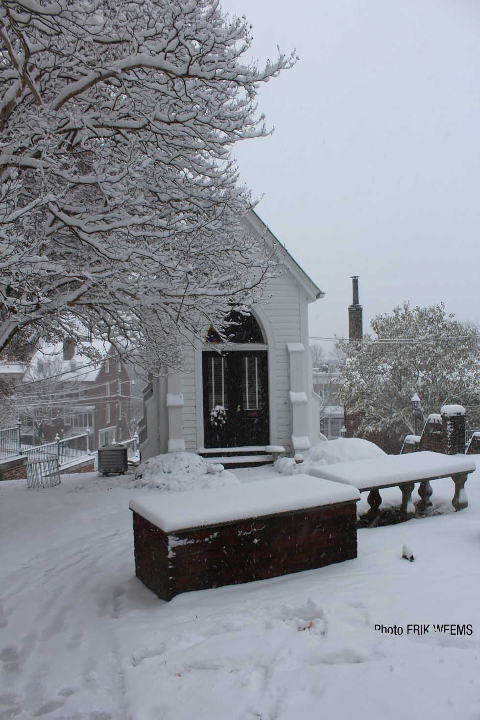 Chapel in the snow at St Johns Church