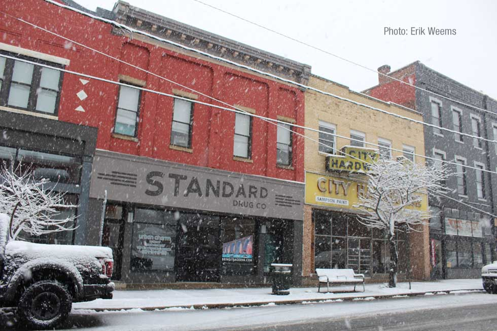 Enlarged photo of downtown near Richmond on Hull Street in the snow