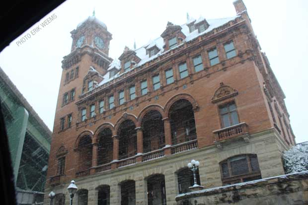 Old Main Street Train Station in the Snow