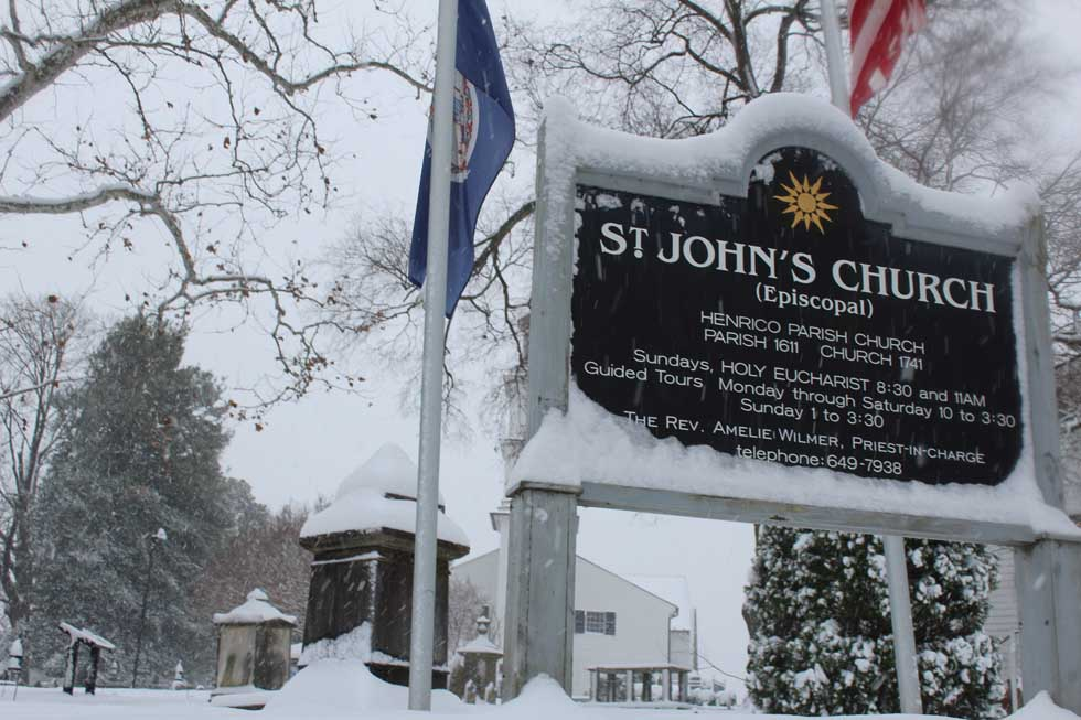 St Johns Episcopal Church in the snow Richmond Virginia