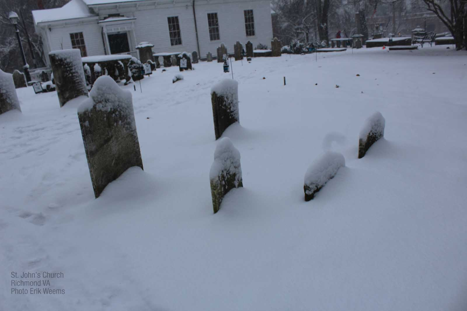 Enlarged image - St Johns Church Graves in the Snow