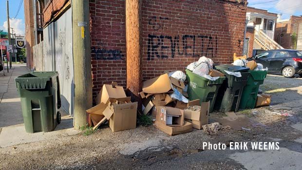 Downtown Carytown alley trash
