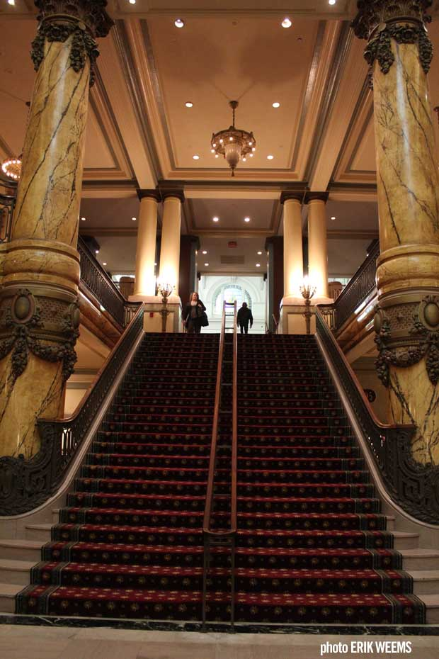 Heavily carpetted stairs at the Jefferson