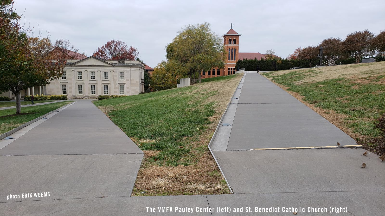 ENLARGED PHOTO:  Pauley VMFA Center and Saint Benedcict Catholic Church Richmond Virginia Fine Arts Museum grounds