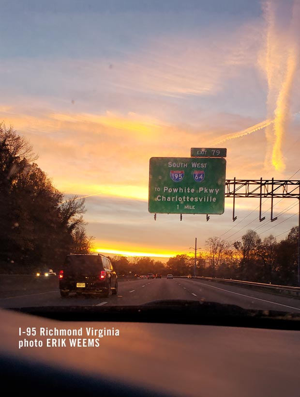 Traveling I95 super highway Richmond Virginia