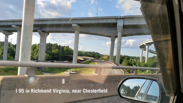 Route 95 ramps on and off Richmond Virginia